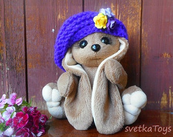 Plush rabbit, soft rabbit toy, little bunny, bunny with long ears, rabbit in beret, bunny handmade