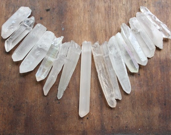 Long Raw Quartz Points- Raw Crystal Points Drilled- Graduated Quartz Points- Drilled Quartz Points- Raw Quartz Points- Bulk Quartz Points