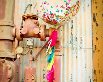 Bright Pink, Teal, Yellow and Gold Jumbo Confetti Balloon with Tassels - One Stylish Party