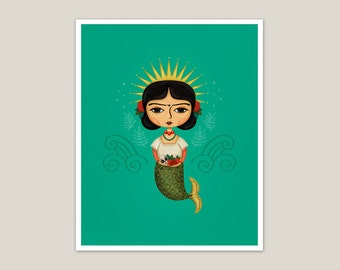 Saint Frida Mermaid - Art Print 8x10