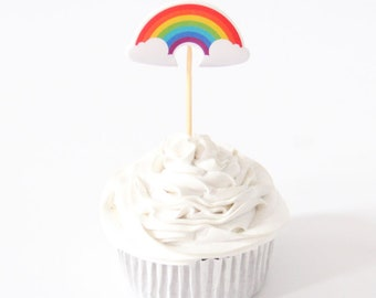 10 PC Colorful rainbow NO toothpick Cupcake Toppers Dessert Party Supplies Theme Decorations CR040118