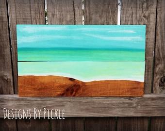 Ocean Painting, Beach Painting, Beach Home Decor, Coastal Home Decor, Reclaimed Wood, Wood Sign, Ocean Home Decor, Coastal Wall Decor