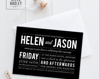 Printable wedding invitation set - Draper collection (black and white)