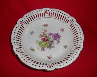 "One (1), 9 1/4"" Porcelain, Pierced Rim Bowl, Marked; Germany US Zone 8, Floral Pattern."