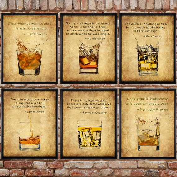 Discounted Set of Six Whiskey Prints with Quotes Whiskey