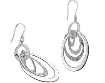 Multi Looped Drop Earrings - Sterling Silver Earrings - Contemporary Earrings - Women's Earrings - Drop Earrings