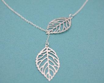 028- Nature - sterling silver leaf lariat necklace