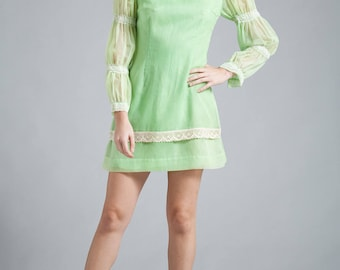 vintage 60s mini babydoll dress lime green pleated shirring sleeves lace trims SMALL S