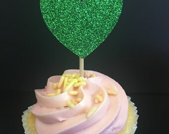 Green Glitter Cupcake Toppers. Cake Decor. Cake Topper. Cake Decor. Baked Goodies Decor.