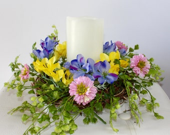 Spring/Summer Candle Ring, Spring Wreath, Summer Wreath, Candle Ring, Candle Wreath, Table Centerpiece