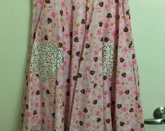Pink Ice Cream & Sprinkles High-Waisted Circle Skirt with Heart Pockets