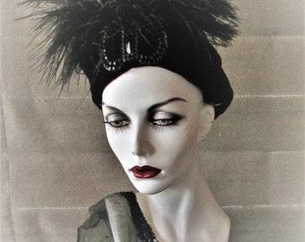 Vintage 1920's Hat Black Velvet Cloche with Feather Soft Body Authentic Flapper Hat