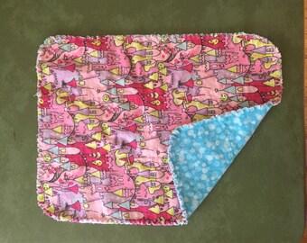 Flannel burp cloth- princess castle