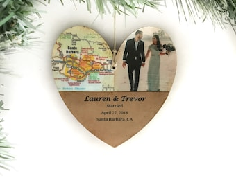 Personalized Wedding Ornament, First Christmas Married Ornament, Unique Wedding Map Ornament, Newlywed Christmas Ornament Gifts, Photo
