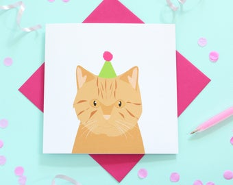 Birthday British shorthair cat card