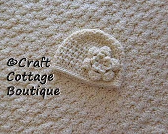 Baby Shower Gift Set - Crochet Baby Blanket & Hat with flower - Ivory - Neutral - Travel / Stroller / Car Seat - Girl - Pram - Knit