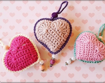 Crochet hanging heart, crochet heart decoration, hanging heart, mothers day, valentines day