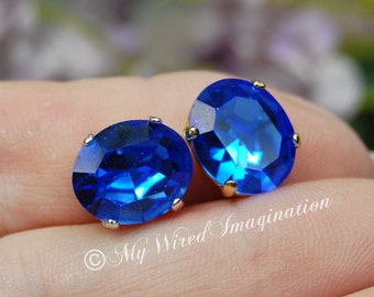 Royal Blue Sapphire, Vintage Swarovski Crystal, 12x10mm Oval Crystal Sew On, Article 4120 September Birthstone, Swarovski in Setting