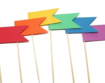 Rainbow Flag Cupcake Toppers / Appetizer Picks - Primary Colors