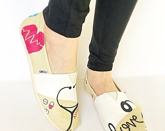 Nurse shoes - gift for RN - med student - custom nurse gift - nurse to be gift - medical student - pharmacy tech - custom shoes - toms shoes