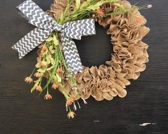 Spring wreath/spring burlap wreath/mothers day gift/rustic wreath/front door wreath/spring front door wreath/year round wreath/spring door