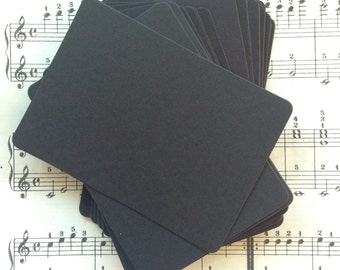 ATC / ACEO Black Cards -Set of 25, Pocket Letters, Blank, Black Card Stock