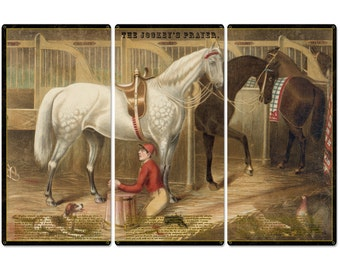 """The Jockey's Prayer, With Prayer Text, Currier & Ives 1868, Horse Races, Triptych Metal Sign, Americana, Wall Decor, Wall Art 54""""x36"""""""