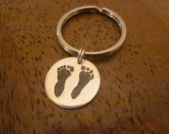 Silver Baby Footprint Key Chain Made from Your Baby's Foot Prints - Custom and Personalized - Circle Shape or Pick shape