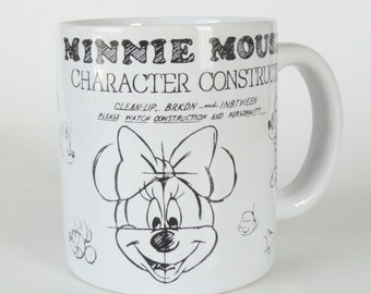 1 Vintage Minnie Mouse Mug - Kids Birthday Gift, Minnie Coffee Mug, Black & White Tea Cup, Disney Collectible Cocoa Mug, Anniversary Gift