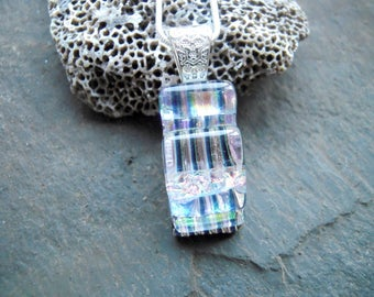 Silver fused glass pendant, Fused glass jewelry,  Dichoric glass pendant, Glass jewelry, OOAK