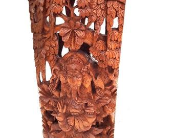 Wooden Ganesh Statue Hand Carved Hindu Elephant God