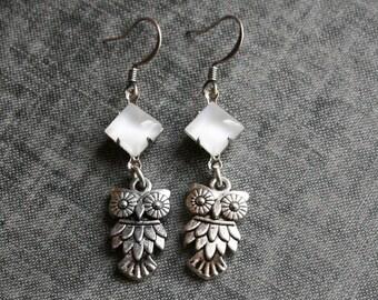 Owl Earrings, White Earrings  Dangle Owl Earrings Owl Jewelry