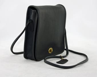 Vintage Coach Small Cross Body Style No. 9620 in NAVY Glove-Tanned Leather, Designer Handbag, Made in USA