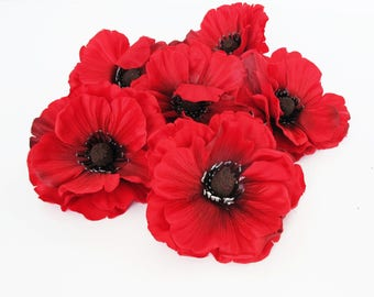 Fake poppies poppy etsy 24 red poppies artificial flowers silk dark red poppy 4 flower floral hair accessories wedding anemones supplies faux fake anemone mightylinksfo