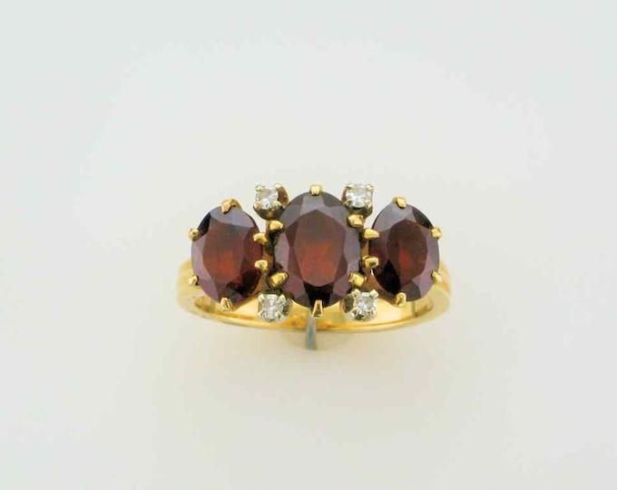 Yellow Gold Garnet and Diamond Estate Ring; Straight Line Ring; Garnet Ring Vintage Garnet Ring; Stacking Ring