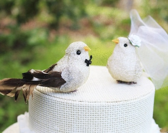 Bird Wedding Cake Topper in Gold and Ivory: Bride & Groom Love Bird Cake Topper