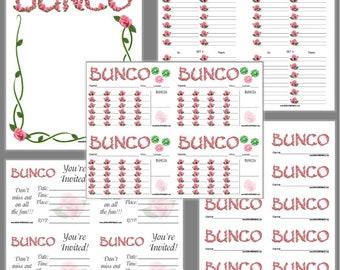 Roses Bunco Printable Set, Bunco Score Cards & Tally Sheet, Instant Download, Editable Bunco Invites