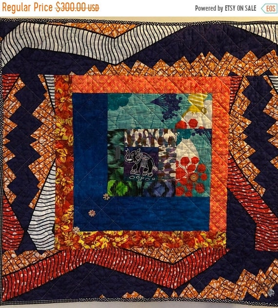 Hot Summer Sale Kissed By An Elephant #1 31x31 inch art quilt