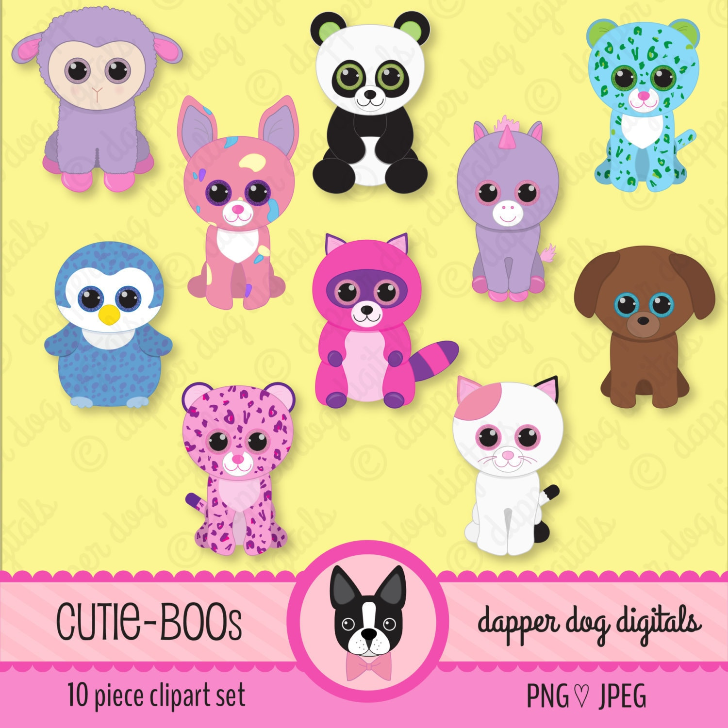 Beanie Boo\'s Clipart Set Glitter Eyes Commercial Use