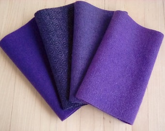"""Hand Dyed Felted Wool, PANSY, Four 6.5"""" x 16"""" pieces in Deep Violet Purple, Perfect for Rug Hooking, Applique', and Crafts"""