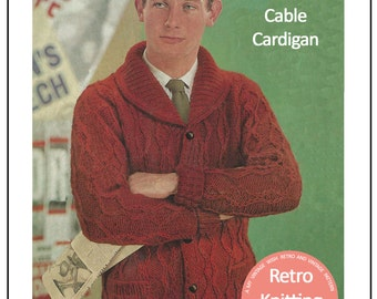 1960s His Chunky Knit Cardigan Pattern – PDF Instant Download