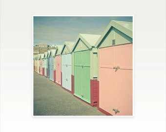 CLEARANCE SALE! Architecture Photography, Seaside Decor, Beach Huts, Pastel Colours - By the Sea
