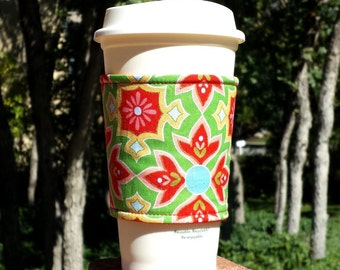 FREE SHIPPING UPGRADE with minimum -  Fabric coffee cozy / cup holder / coffee sleeve  -- Red Flowers on Green - Delighted by Riley Blake
