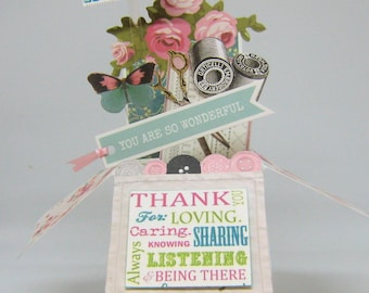 Mother's Day Pop Up Box Card - Card in a Box - Sewing theme - Seamstress Card