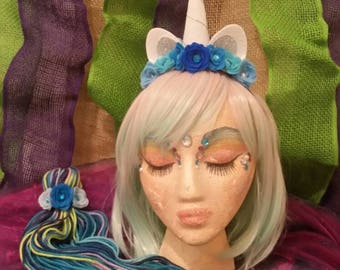 Unicorn horn costume - tiara  and tail set- blue ombre