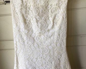 Vintage 1960's Lorrie Deb boatneck lace wedding dress