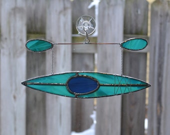 kayak #8 Stained glass suncatcher hanging from silver steel chain