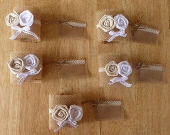 Set of 5 napkin rings in Burlap and lace with name (made to order)