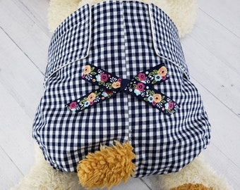 Female Dog Diaper - CUSTOM SIZE - Dog Panties - Dog Potty Training Aid - house breaking - Extra Small to Extra Large - Navy Gingham