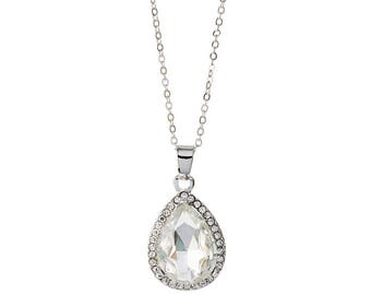 Crystal Tear Drop Necklace - White Gold
